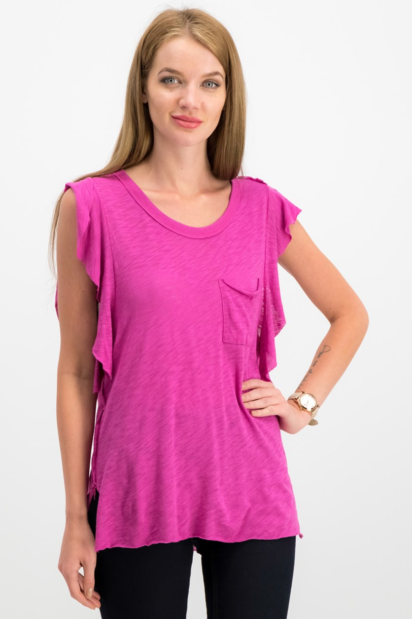 So Easy Flutter Sleeve T-Shirt, Fuchsia/Purple
