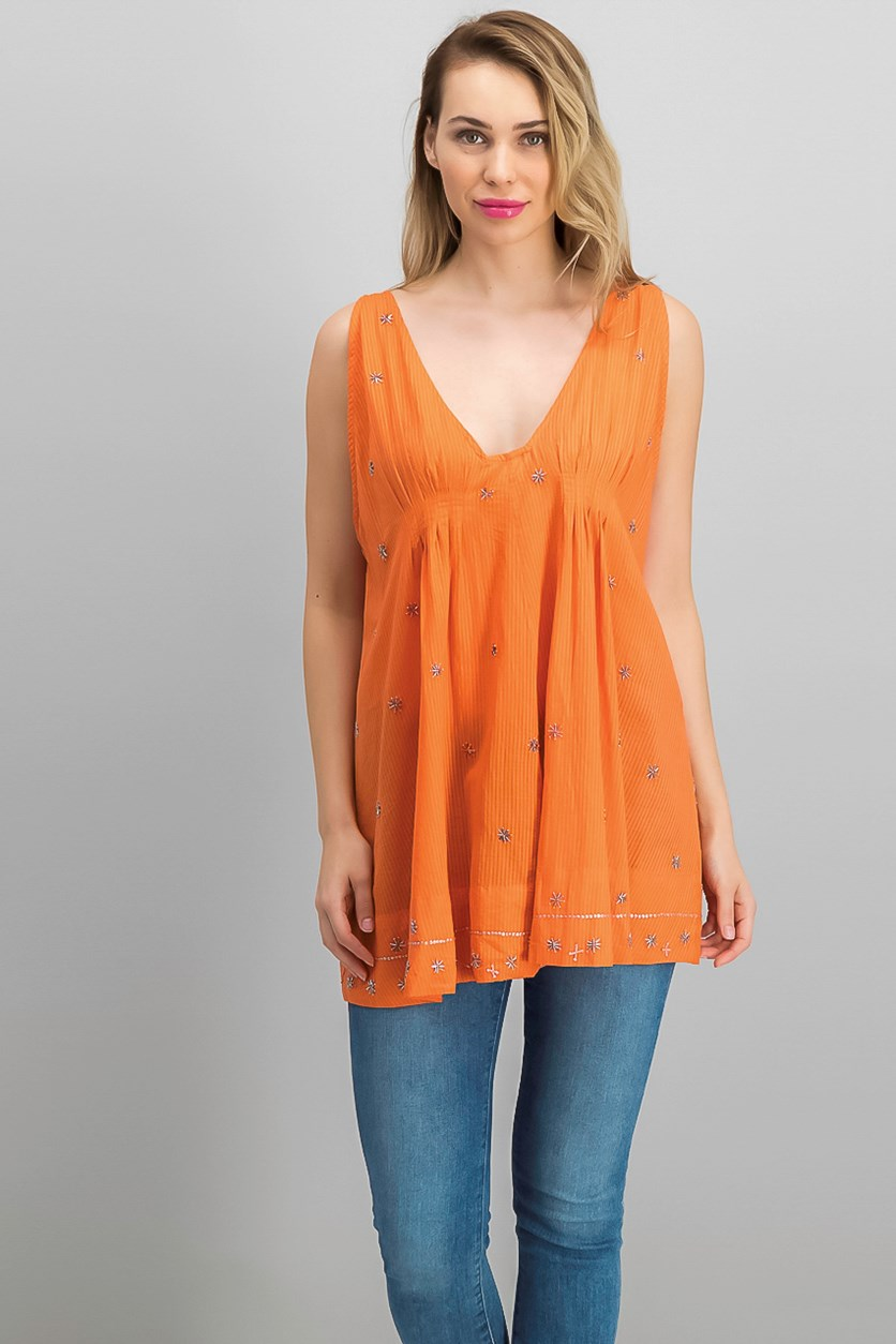 Crushin On You Beaded Top, Coral