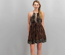 Free People Beach Day Halter Dress, Black/Brown