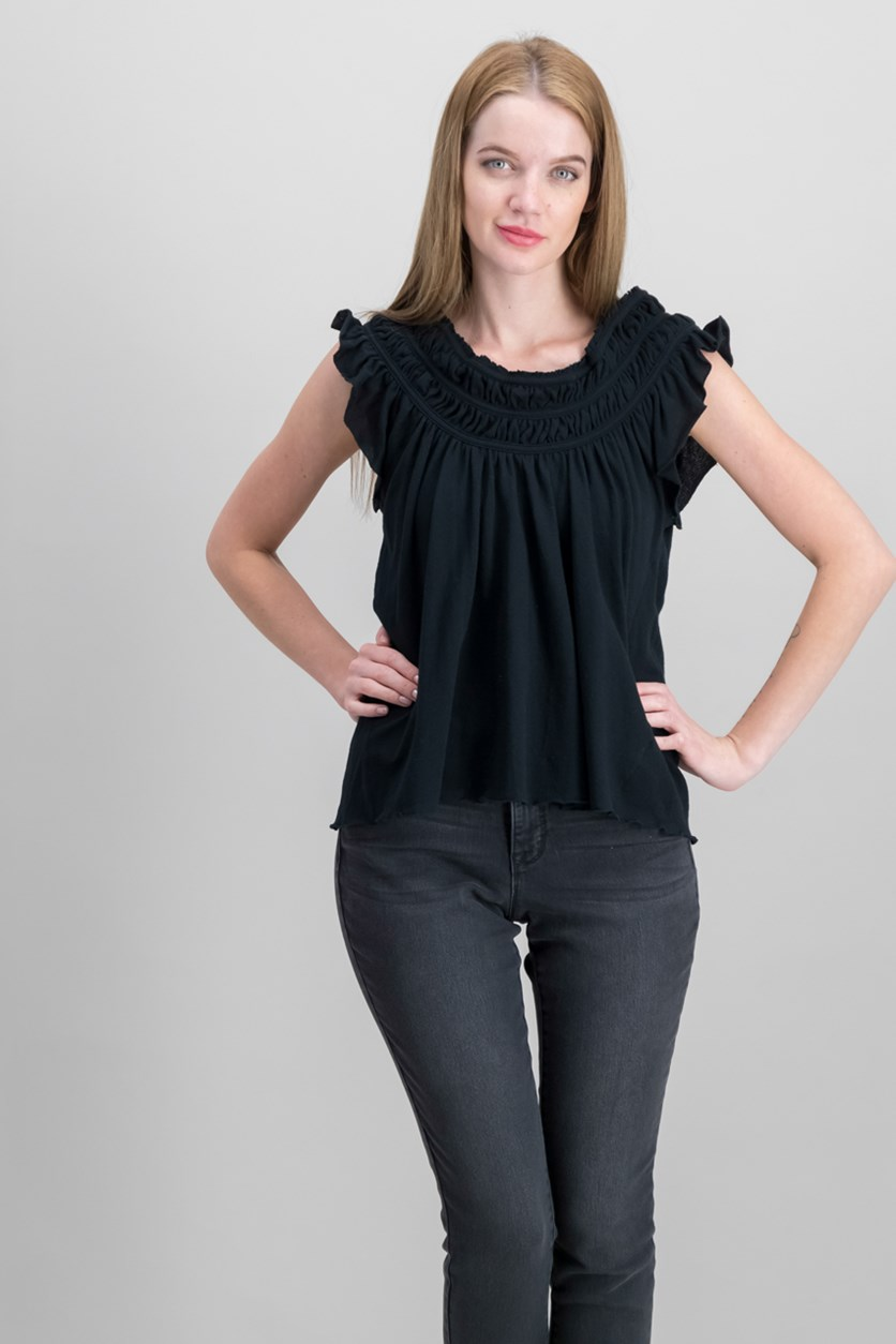Women Coconut Ruffled T-Shirt, Black