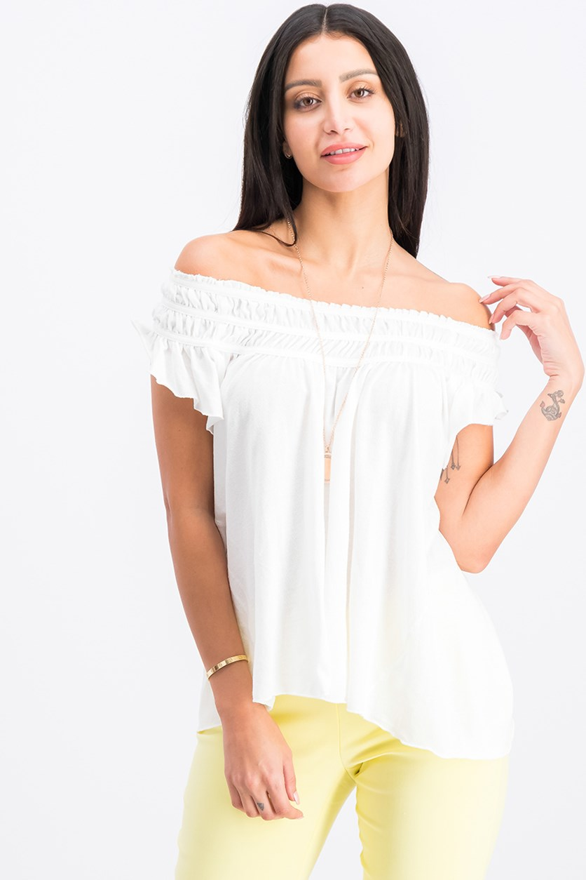 Coconut Ruffled T-Shirt, Ivory