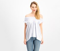 Women Coconut Ruffled T-Shirt, Pastel Blue
