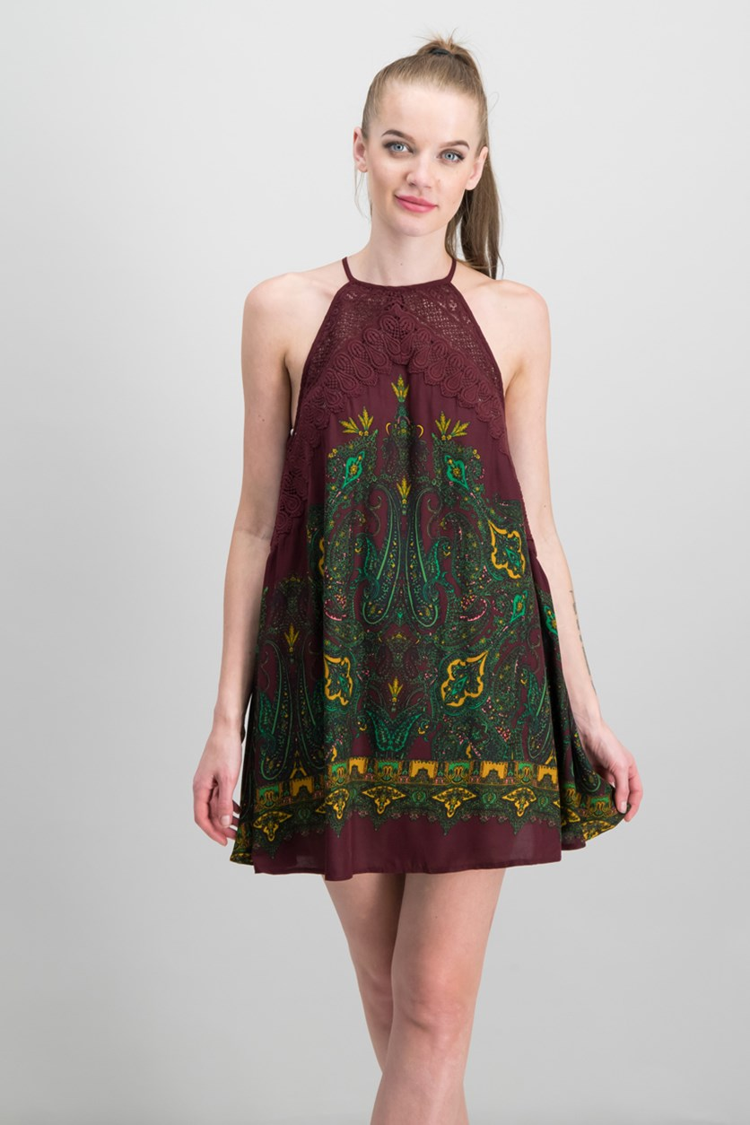Shea Printed Mini Dress, Maroon