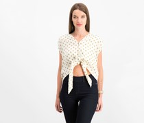 Free People Printed Tie-Front Top, Cream