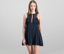 Free People Wherever You Go Crocheted Mini Dress, Navy