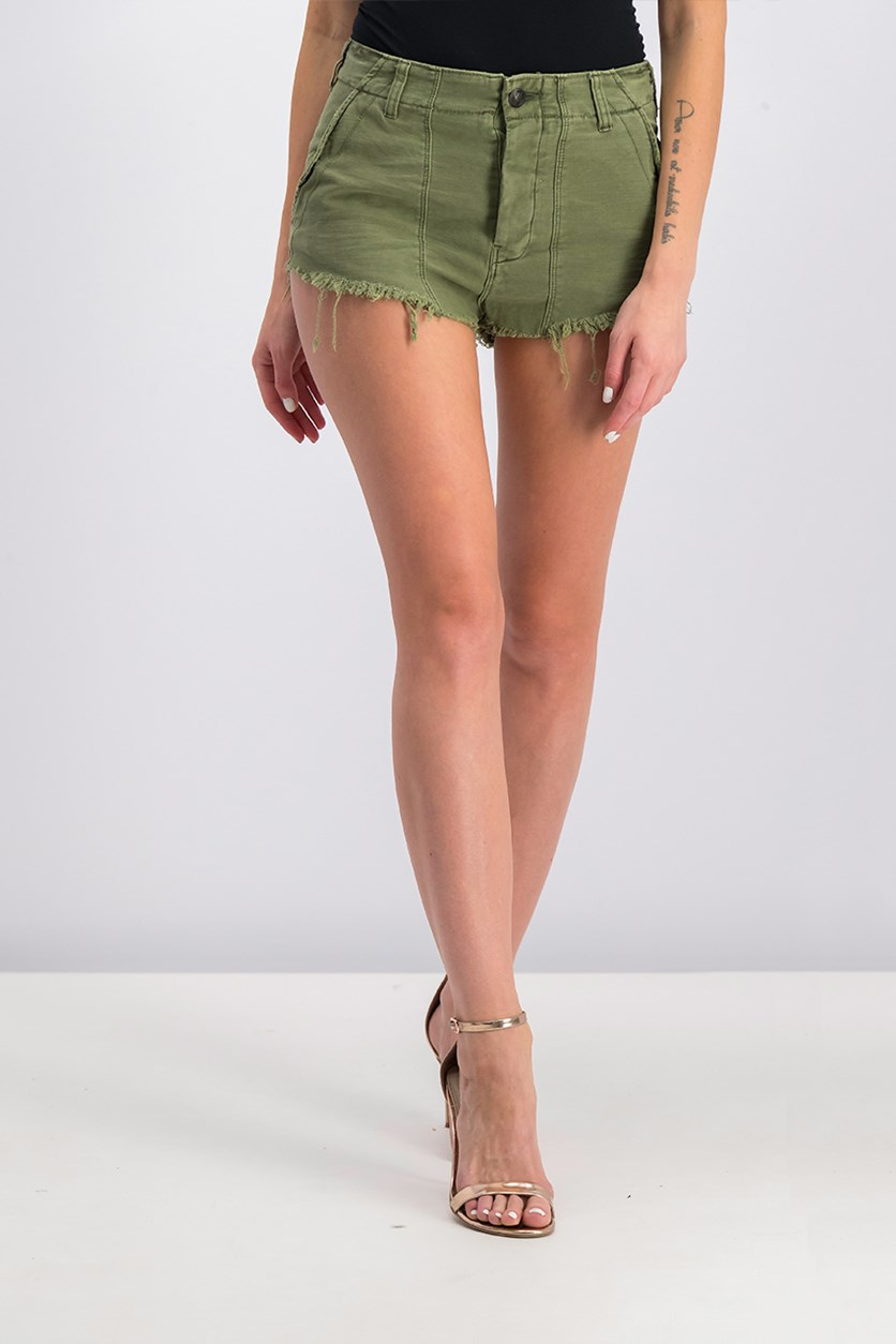 Cotton Cutoff Shorts, Moss