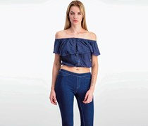 Free People Off-The-Shoulder Ruffled Blouse, Navy