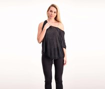 Free People Pluto One-Shoulder T-Shirt, Black