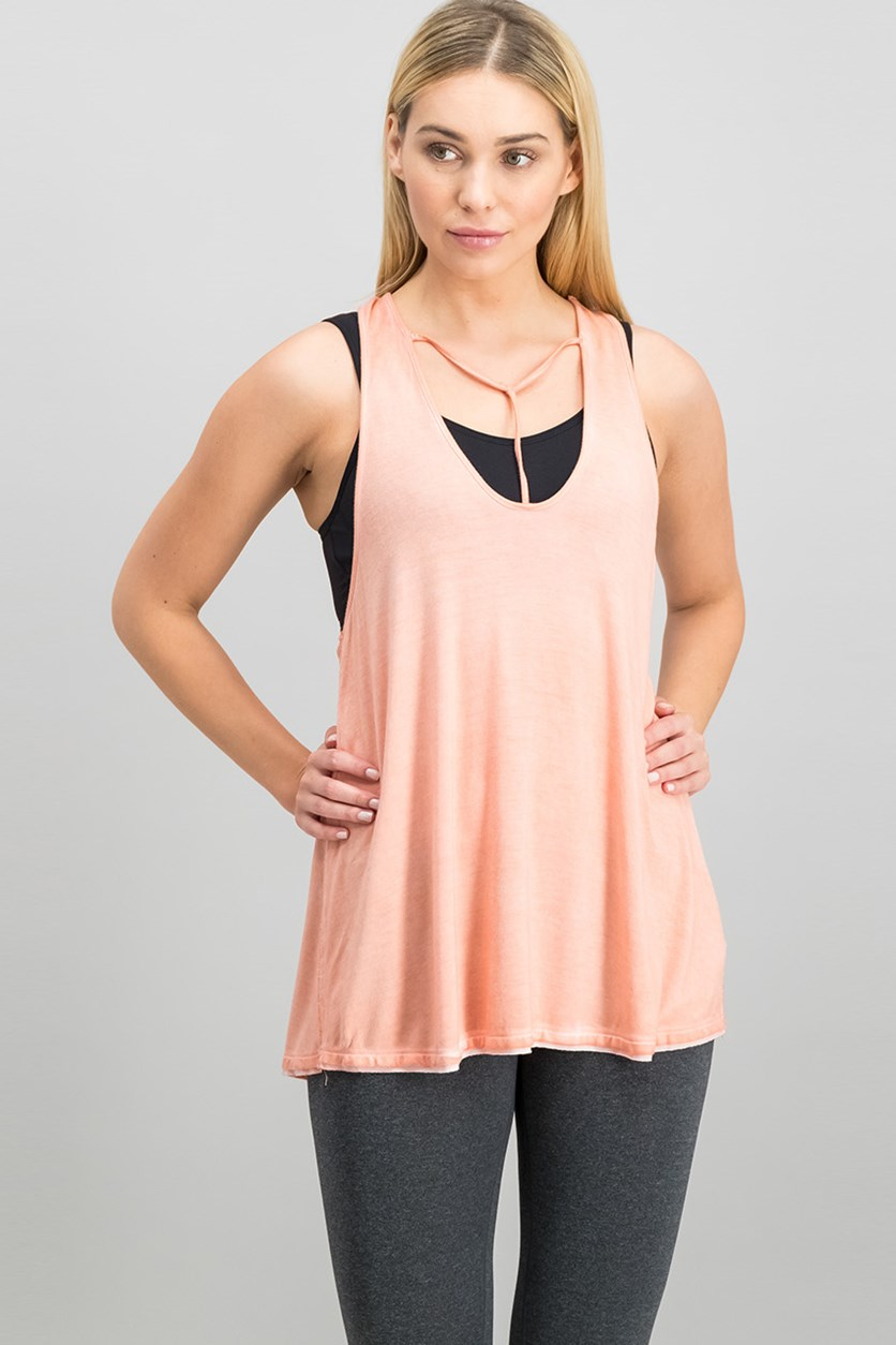 Women Amelia T-Strap Tank Top, Peach