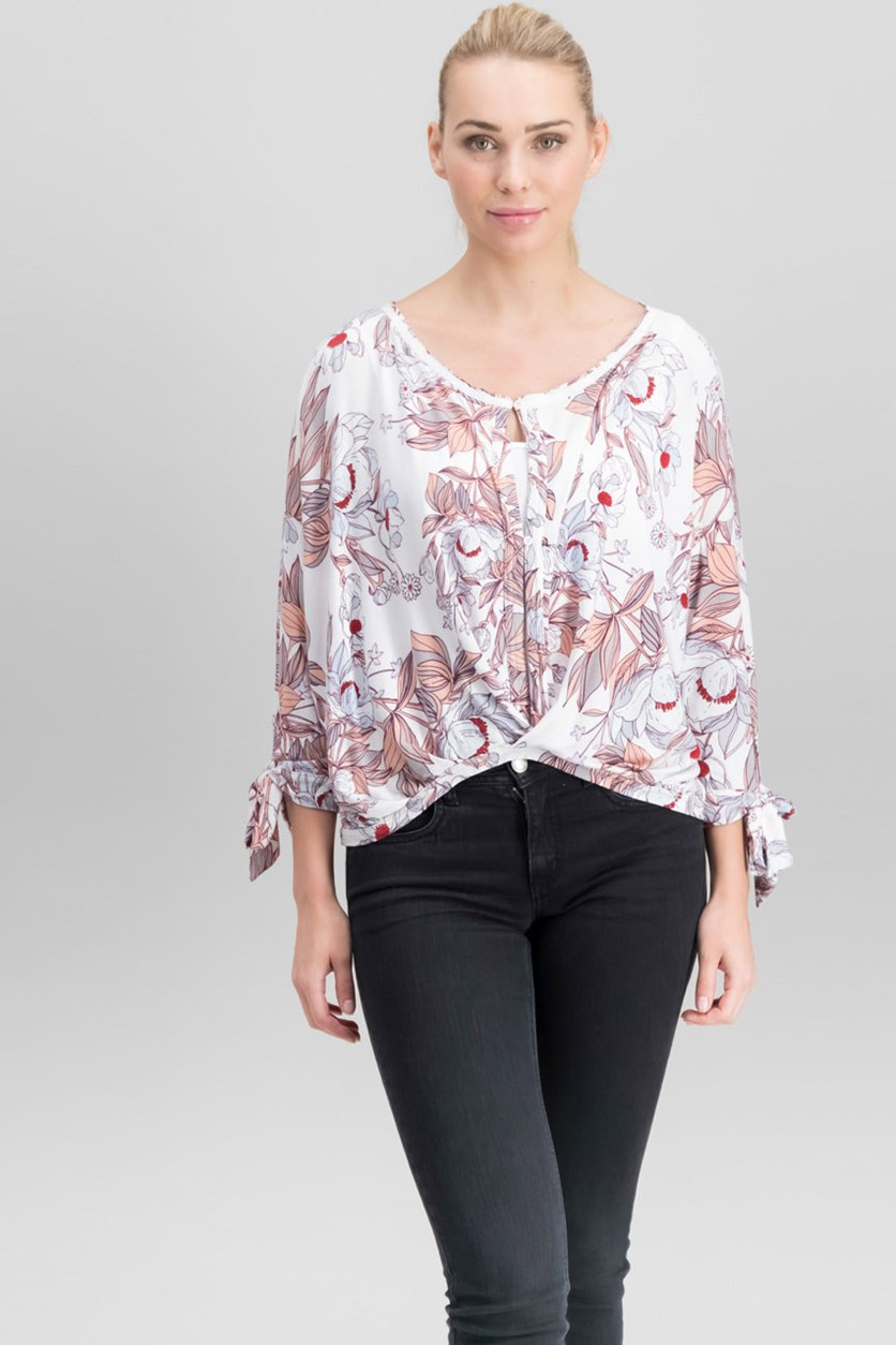 Keepin On Printed Top, Ivory
