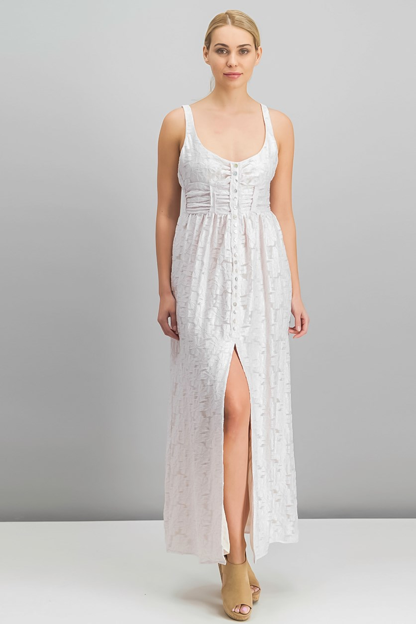 Fresh As a Daisy Embroidered Maxi Dress, Pale Blush