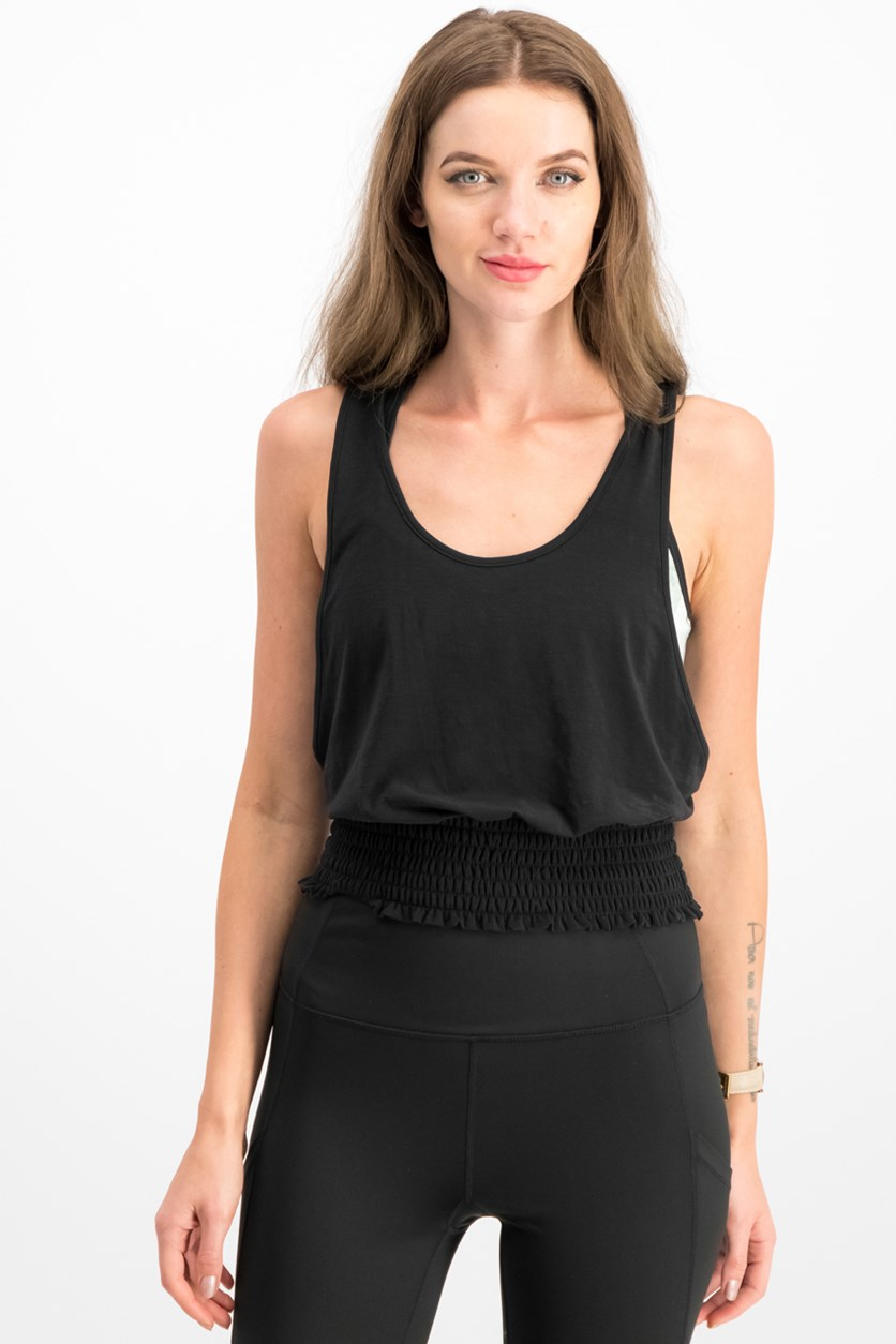 Mala Smocked Tank Top, Black