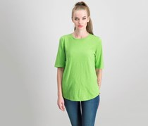 Women Elbow-Sleeve Top, Green Apple
