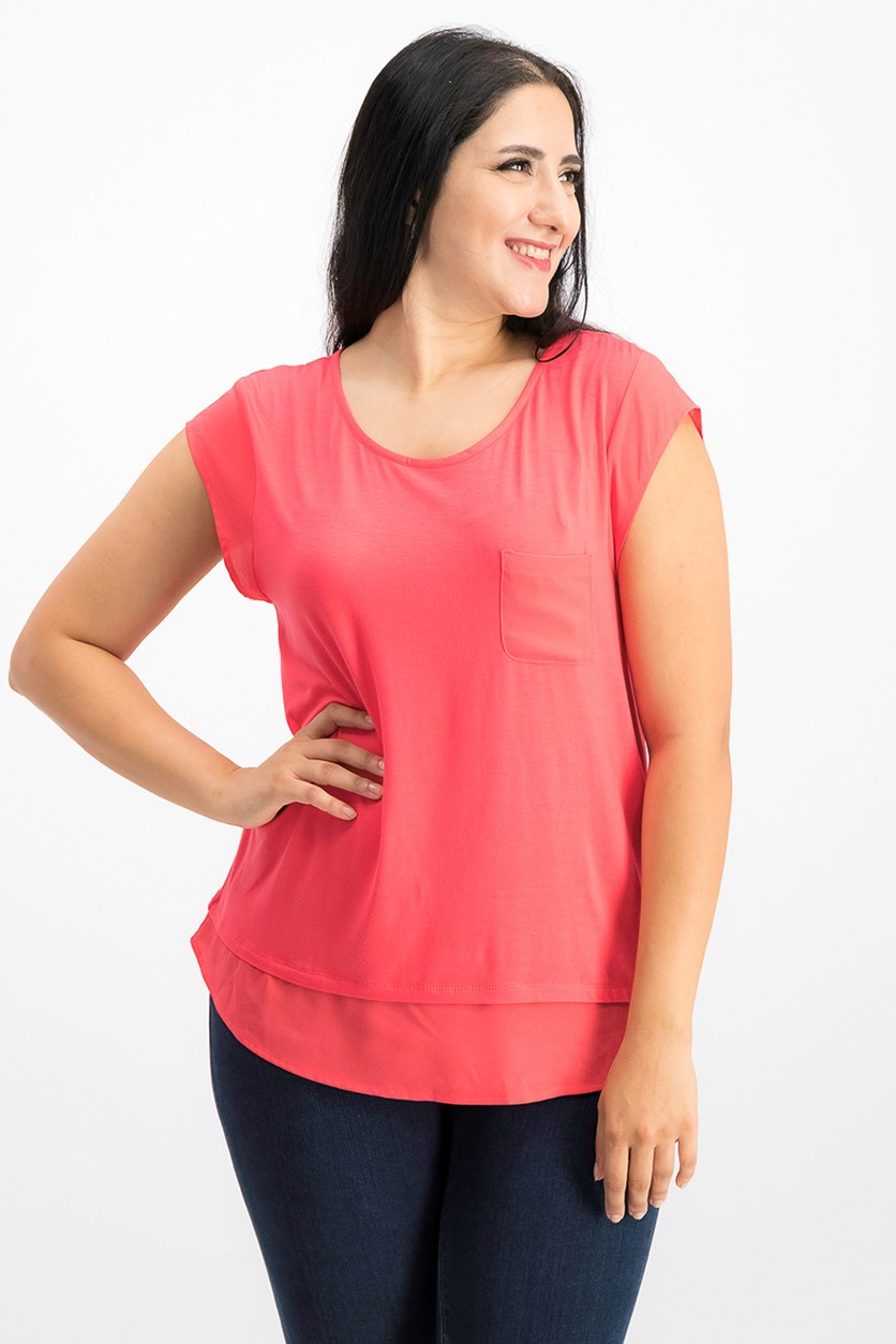 Layered-Look T-Shirt, Watermelon