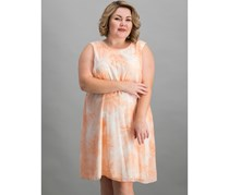 Calvin Klein Plus-Size Floral A-line Shift Dress, Peach