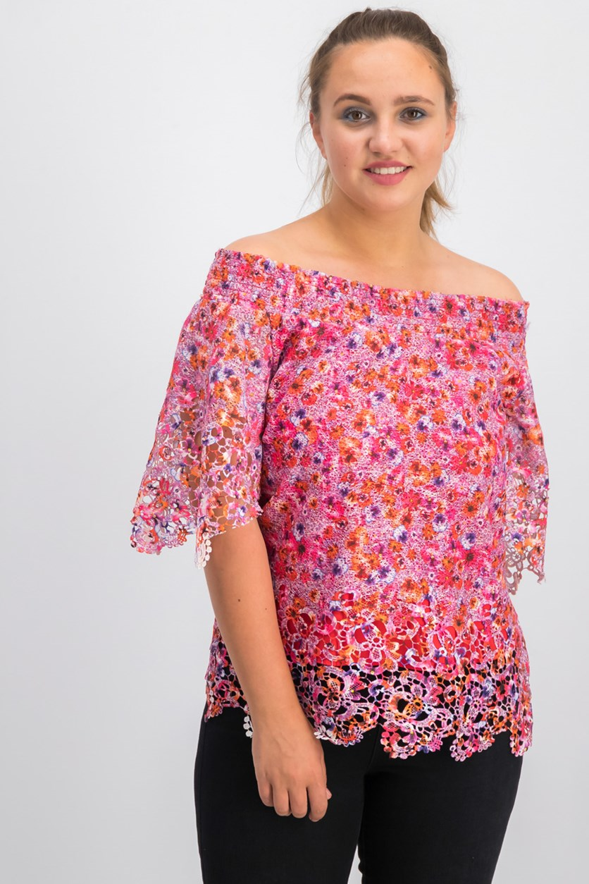 Cecila Floral Lace Off-the-Shoulder Top, Gem Combo