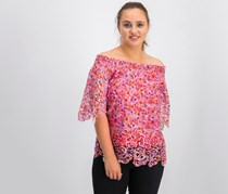 T Tahari Cecila Floral Lace Off-the-Shoulder Top, Gem Combo