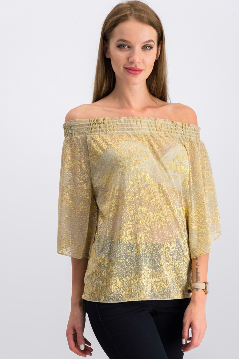 Tahari Gold Speckled Off-the-Shoulder Blouse, Gold