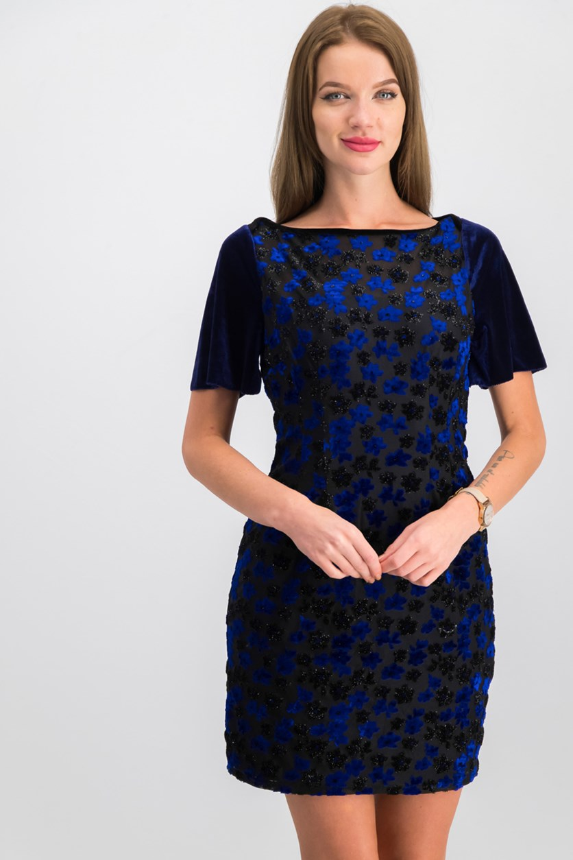 Womens Sheath Dress, Blue/Black