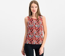 Tommy Hilfiger Womens Neck Sleeveless Top, Black Floral Jewel