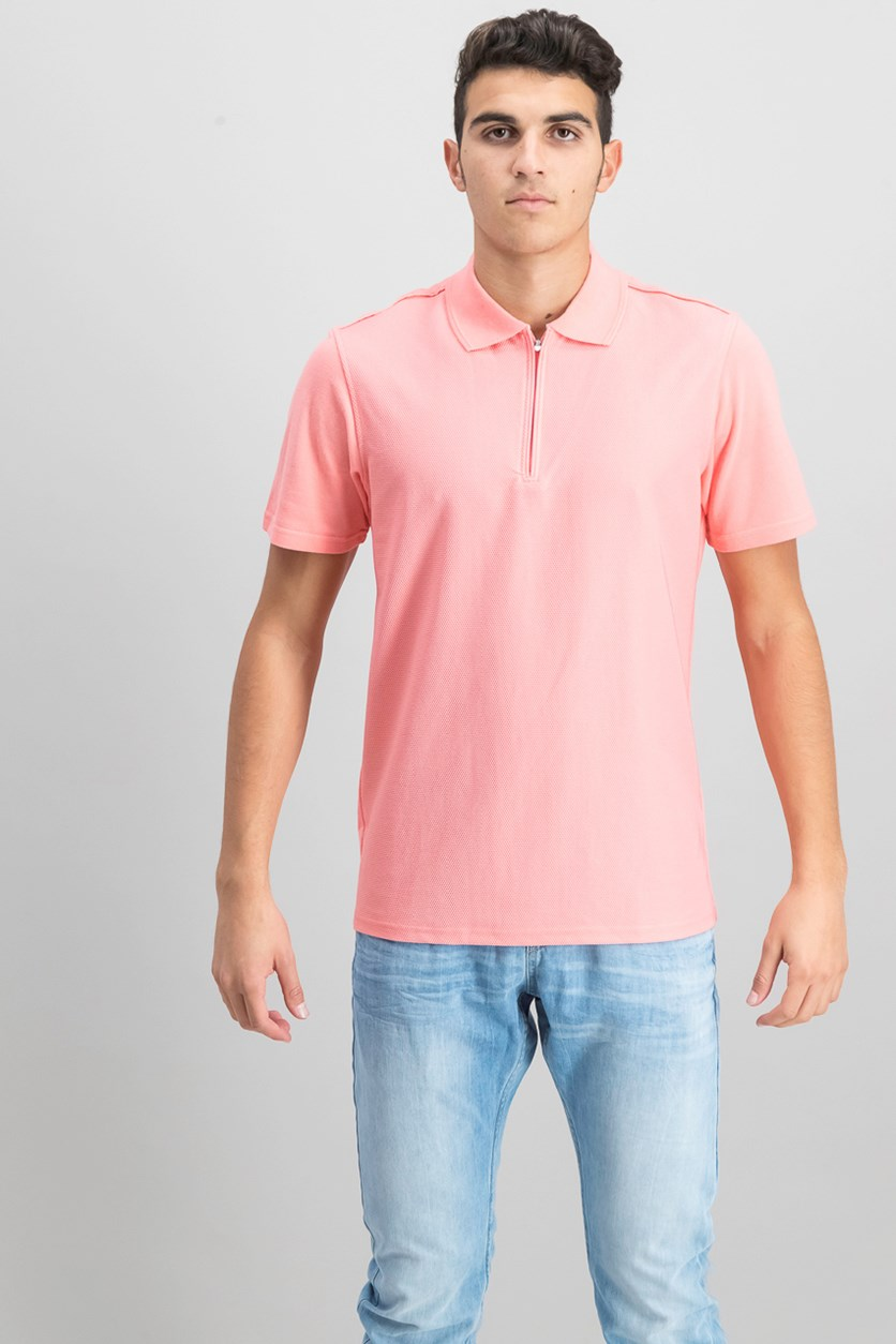 Men's Slim Fit Zip-Up Polo, Pink