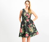 Ivanka Trump Floral-Embroidered Fit & Flare Dress, Black Combo
