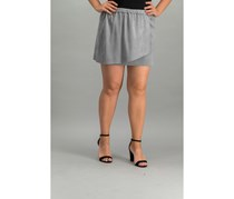 Kensie Faux-Suede Wrap Skirt, Smoke