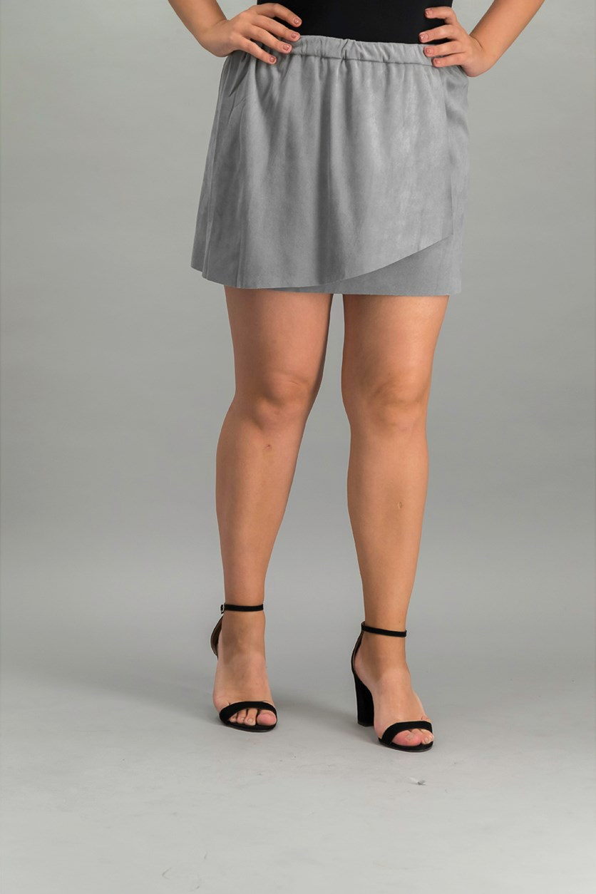 Faux-Suede Wrap Skirt, Smoke