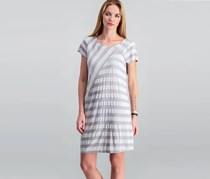 G.H. Bass & Co. Patchwork-Striped T-Shirt Dress, Grey