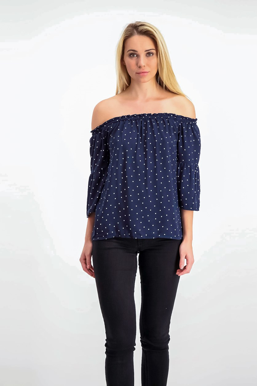 Polka-Dot Off-The-Shoulder Top, Darkest Navy Combo