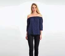 Kensie Polka-Dot Off-The-Shoulder Top, Darkest Navy Combo