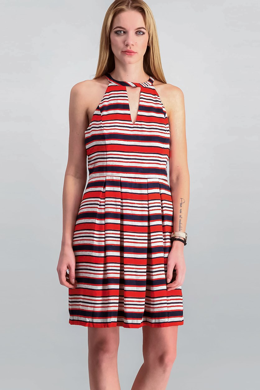Striped Cutout Fit & Flared Dress, Hot Lava Combo