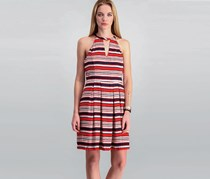 Kensie Striped Cutout Fit & Flared Dress, Hot Lava Combo