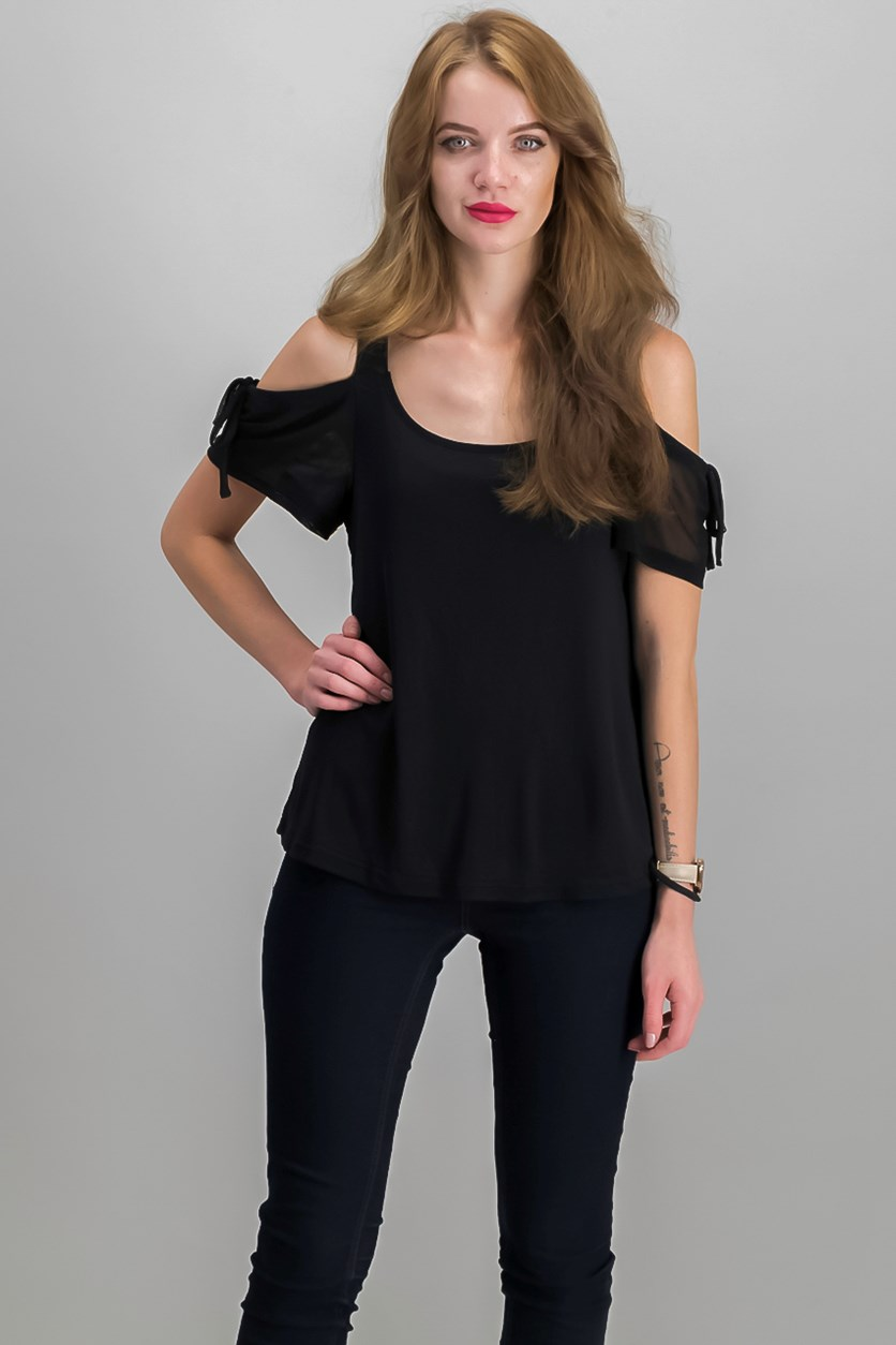 By Ikeddi Juniors' Cold-Shoulder Top, Black