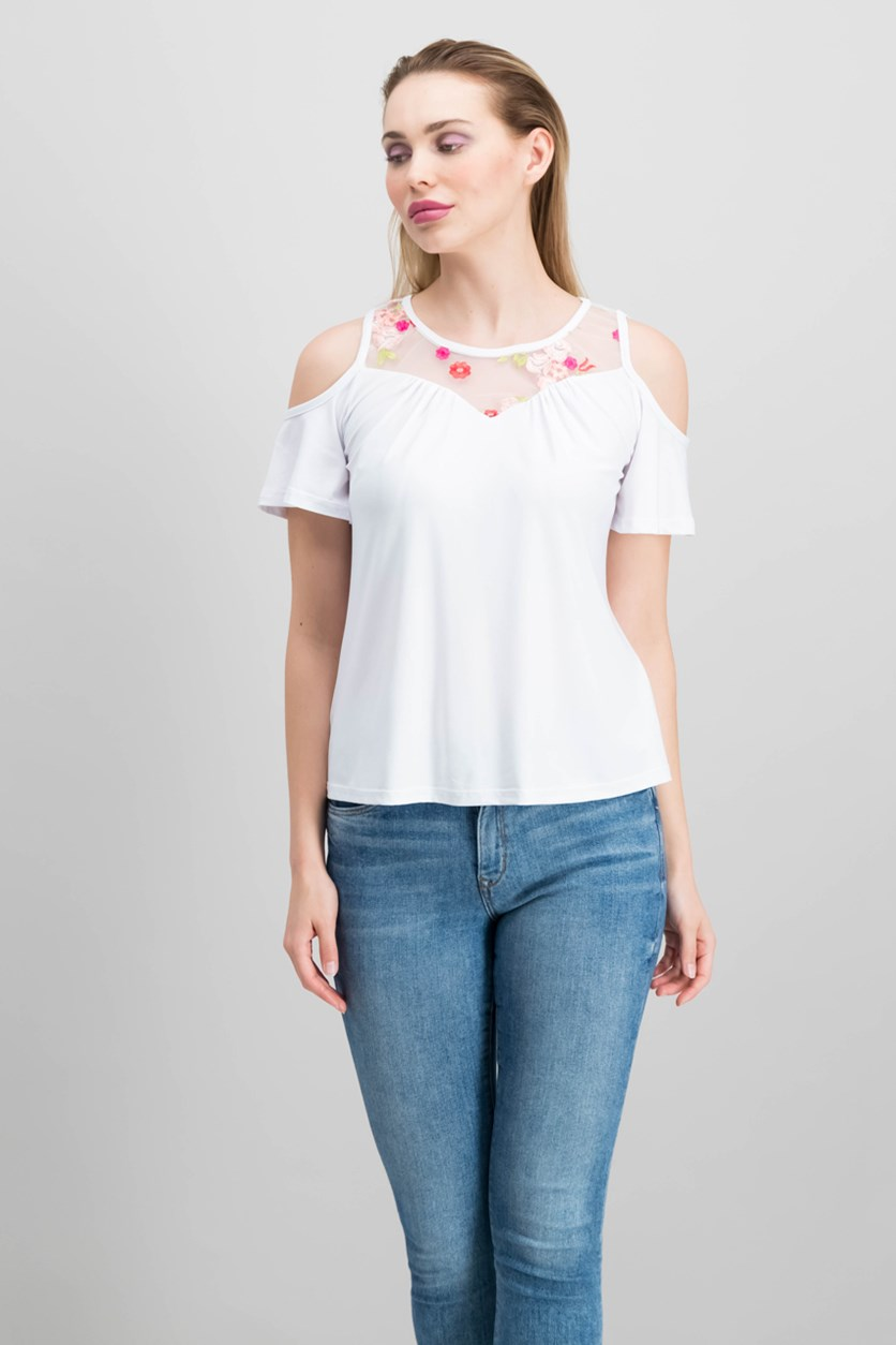 by Ikeddi Juniors' Embroidered Cold-Shoulder Top, White