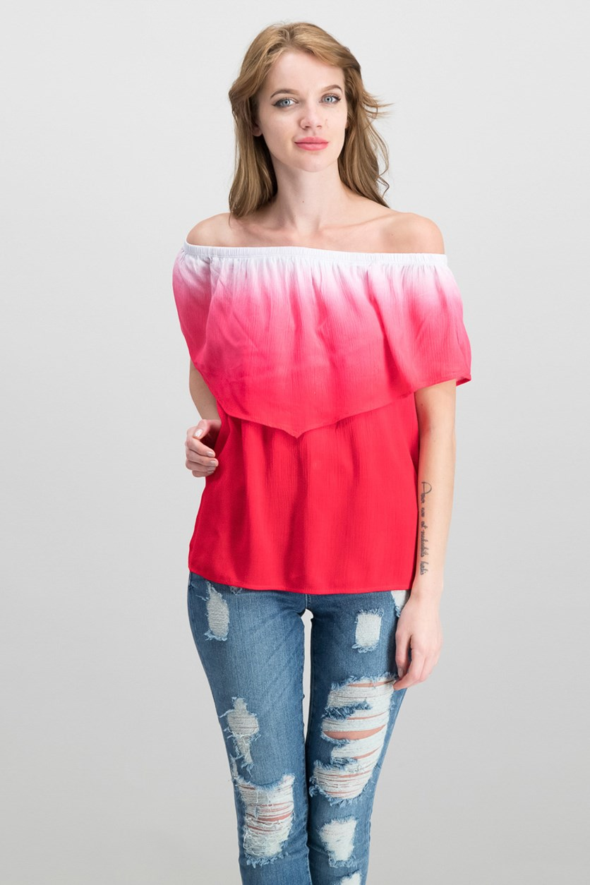 Juniors Off-The-Shoulder Top, Red Ombre