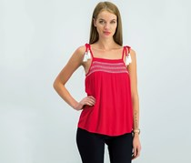 Ultra Flirt Juniors Embroidered Smocked Tank Top, Red