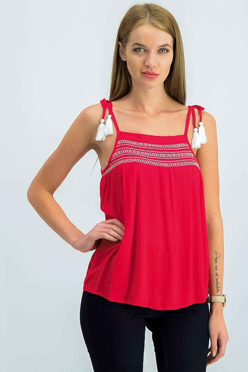Juniors Embroidered Smocked Tank Top, Red