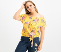No Comment Juniors' Printed Off-The-Shoulder Ruffle Top, Yellow Combo