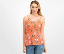 Ultra Flirt By Ikeddi Juniors' Printed Two-Way Tank Top, Tropical Coral