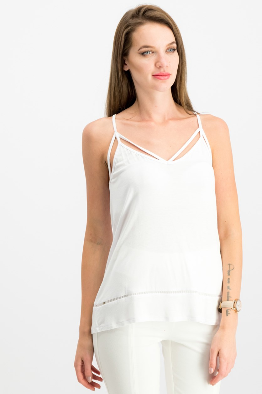 Juniors Strappy Tank Top, White