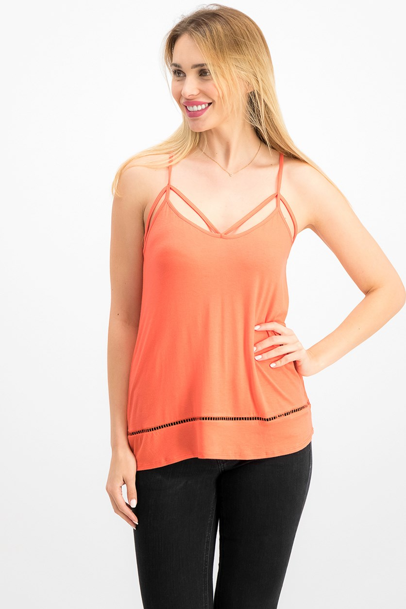 Ultra Flirt By Ikeddi Juniors' Strappy Tank Top, Hot Coral