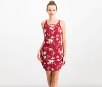 Ultra Flirt Juniors Floral-Print Lace-Up Dress, Maroon Combo