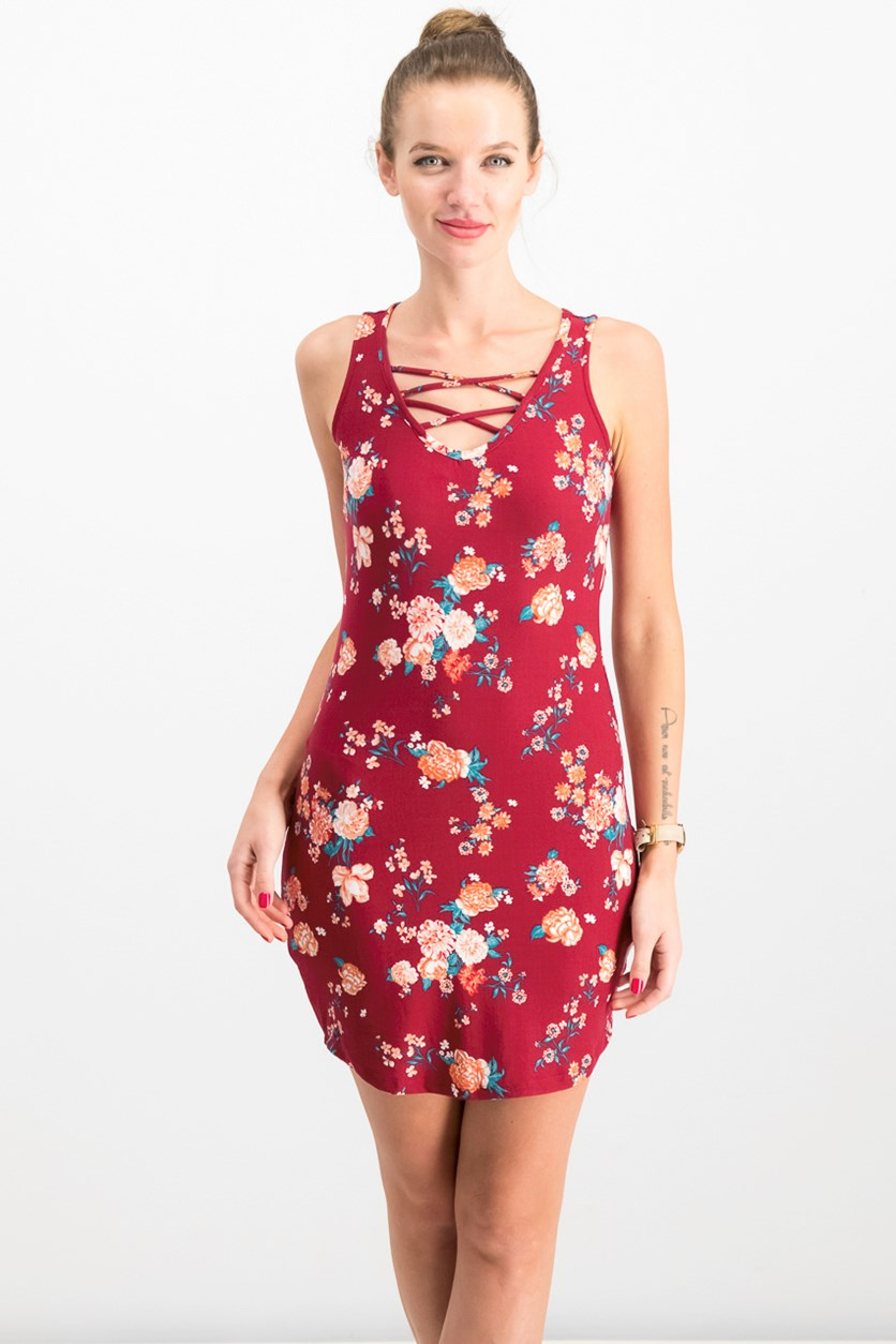 Juniors Floral-Print Lace-Up Dress, Maroon Combo