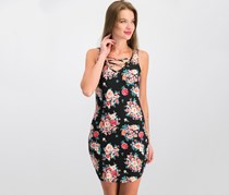 Ultra Flirt Juniors Floral-Print Lace-Up Dress, Black Combo