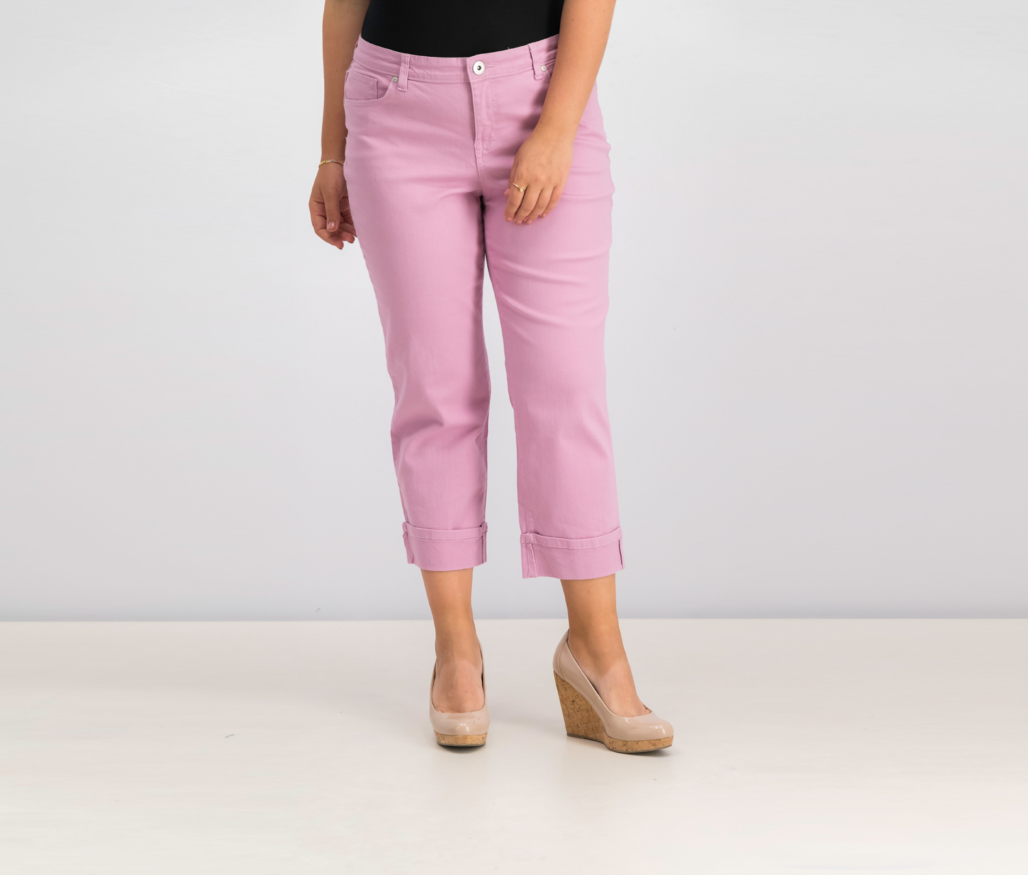 Curvy Cuffed Capri Jeans, French Orchid
