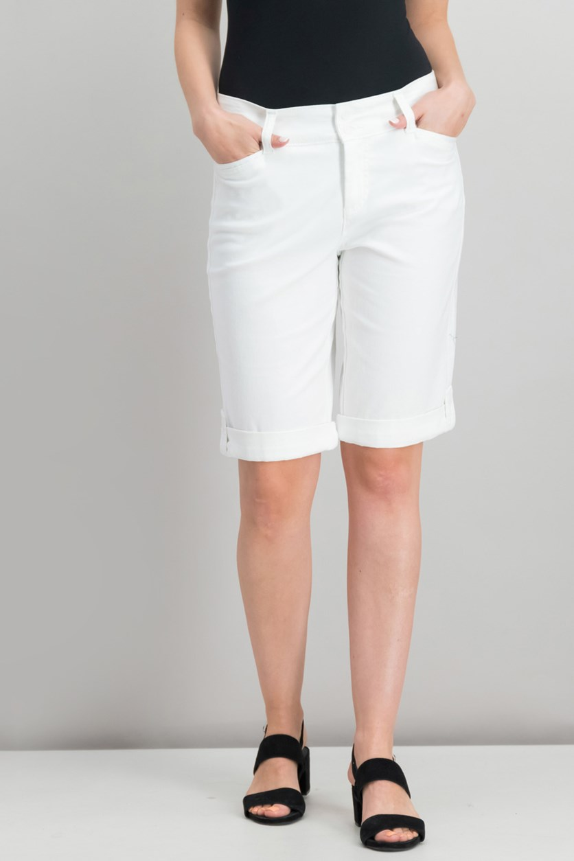 Cuffed Bermuda Shorts, Bright White
