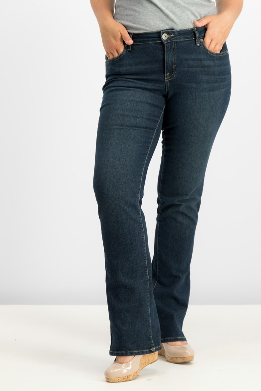 Women's Curvy-Fit Bootcut Jeans, Stream Wash