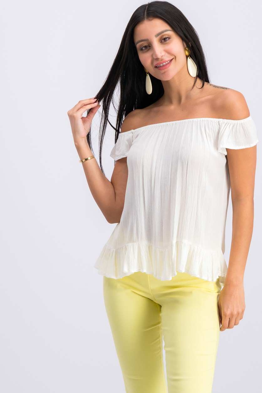 Crepe Off-The-Shoulder Top, Antique Cream