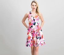 Ralph Lauren Floral-Print Fit & Flare Dress, White/Pink